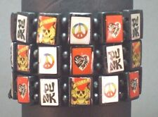 PEACE Bracelet SET OF 6 Varied Multi Color Panel Designs PUNK Black Face Beads
