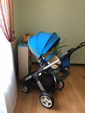 Stokke Crusi Urban Blue Stroller with Cary Cot + Summer & Winter Kits