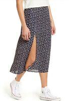 Good luck gem women's navy floral midi skirt side slit NWT sz M