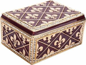 Artist Exclusive Fleur de Lis Trinket Box w/ Austrian Crystals