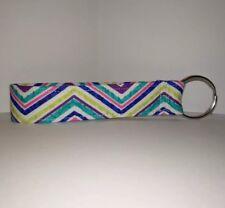 New Key Fob / Key Chain / Fabric /wristlet /Wrist Lanyard/ Strap Zig Zag Stripes