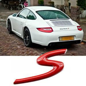 3D S Sporty Badge Rear Trunk Lid Emblem For Porsche Cayman Macan 911 Carrera GT
