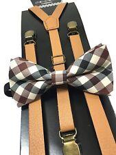 Ivory Brown Leather Vintage Elastic Adjustable Clips-on Suspender + Bowtie