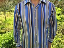 ETRO Milano Slim Fir Striped Button Up Shirt Blue Multi-Color Italy Size 41 L