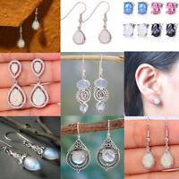 Elegant 925 Silver Fire Opal Moonstone Earrings Ear Studs Women Wedding Jewelry