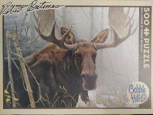 "Cobble Hill Robert Bateman Bull Moose 500 Piece Puzzle Complete 24""x18"""