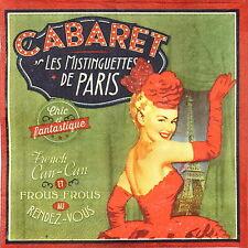 4x Solo Papel Servilletas Fiesta Para Decoupage Decopatch Retro Estilo Cabaret Paris