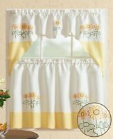 All American Collection Embroidered 3pc Kitchen Curtain Set