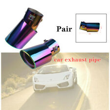 2PCS 63mm Car Exhaust Pipe Muffler Tail Throat Roasted Blue  Stainless Steel Kit