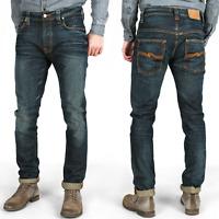 New Nudie Mens Slim Skinny Fit Jeans   Tape Ted Brown Weft   Organic