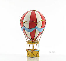 "Red Hot Air Balloon 3d Toy Metal Model 14.5"" Hanging Aviation Art Decor For Kids"