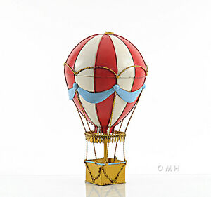 """Red Hot Air Balloon 3d Toy Metal Model 14.5"""" Hanging Aviation Art Decor For Kids"""