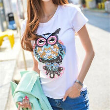 31CM Large Sequins Owl Cloth Applique Patch Clothing Embroidery Sewing Craft ♫