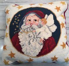 Needlepoint Pillow SANTA & ANGEL & STARS CHRISTMAS WOOL Velvet Back Red White