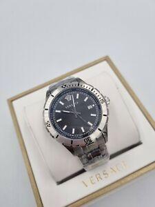 VERSACE Hellenyium Black Swiss Mens Watch VE3A00620 Silver Bracelet 1yr Warranty