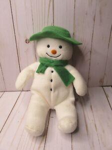 "Eden 13"" Snowman Plush Stuffed Toy Green Felt Hat Scarf Raymond Briggs White HTF"