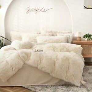 Bedding Set Long Plush Pure Color Mink Velvet Duvet Cover  Thick Warm Flannel
