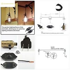 Single Vintage Edison Socket plug in Pendant Light Kit Cord with Dimmer Switch a