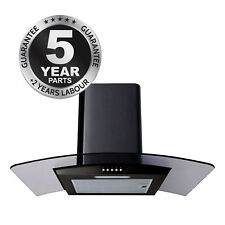 SIA CG61BL Black 60cm Curved Glass Chimney Cooker Hood Extractor Fan