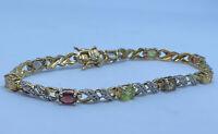 Gorgeous Oriental Vintage 9ct Gold Over Silver Multi Gem Diamond Bracelet