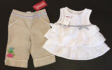 NWT Gymboree Tennis Match 6-12 Months Tiered Ruffle Top & Khaki Turtle Pants