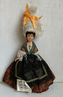 Vintage French Costume Souvenir Doll Sleep Eyes Lace Cap Brocade Dress 6 In Tall