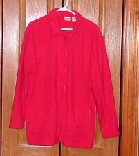 REFLECTIONS Fleece Button Front Long Sleeve Dark Pink Jacket Sweater Large NWOT