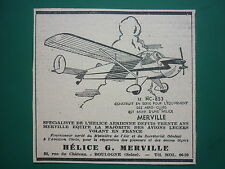 3/1951 PUB HELICE MERVILLE BOULOGNE AVION NORD NC-853 ORIGINAL FRENCH AD