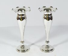 ANTIQUE PAIR WANG HING CHINESE EXPORT STERLING SILVER TRUMPET EPERGNE