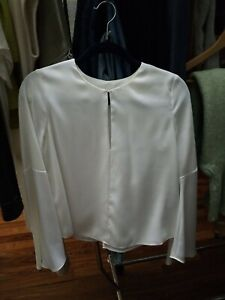 Intermix White Ivory Silk Keyhole Flared Bell Sleeve Blouse Top Small $298