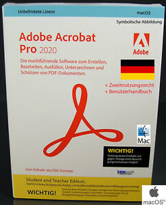 Adobe Acrobat Pro 2020 Vollversion CD + Handbuch Mac Student and Teacher NEU