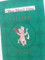 UNUSED Vtg NEW YEARS DAY PASSPORT To HAPPINESS Christmas GREETING CARD