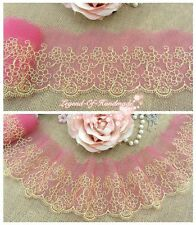 """3""""*1y Embroidered Floral Tulle Lace Trim Hot Pink Gold Yellow Florid Daisy"""