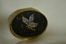 Vintage Oval Volupte Compact with Enameled Butterfly