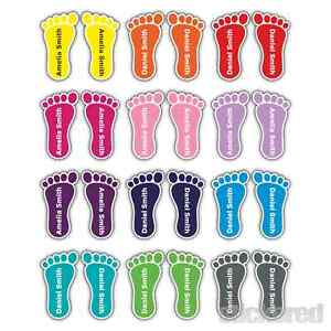 8 PAIRS COLOUR PERSONALISED FOOT FEET SHOE NAME LABELS SCHOOL SHOES FOOTWEAR