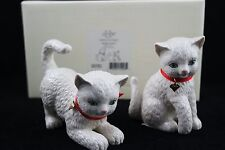 Lenox American By Design Set  of  2 Ivory Cats Red Ribbon Gold Heart Chrams