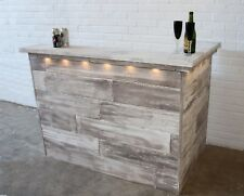 The Glacier Home Bar - distressed, reclaimed effect pine bar with lights