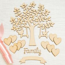 Wooden Family Bird Tree Set with Tree Hearts and Banner,Christmas MDF Art Craft