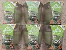6 Glade Scented Oil Candles ACOUSTIC SAGE Dried Sage Fig Leaves, Brown Sugar 3.4