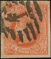 España. False Postal. No 64F. 1864. 4 Cuartos Red False Postal Type Unico.