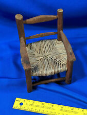 Miniature Doll House Furniture Chair Hickory-Antique-Style VTG Woven Cane Toy 7x