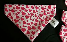 Slide on dog bandana size L in white with small red hearts polycotton