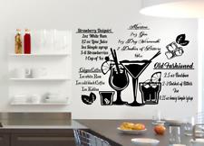 Ricette di cocktail e bevande immagini Vinyl Wall Art Adesivo Trasferimento Decalcomania