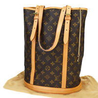 AUTH LOUIS VUITTON BUCKET GM SHOULDER TOTE BAG MONOGRAM LEATHER M42236 31MB949