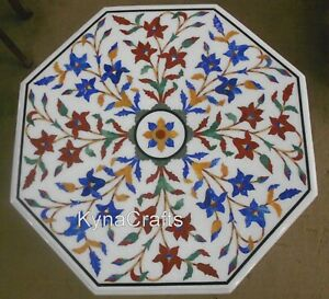 21 Inch Marble Patio Table Marquetry Art Coffee Table Top for Living Room Decor