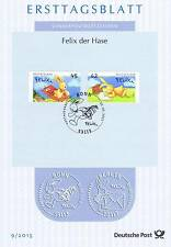 BRD 2015: Felix der Hase! Ersttagsblatt der Nr 3140+3141 mit Bonner Stempel 1704