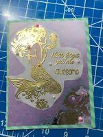 All Occasion Card Golden Embossed Mermaid Seahorse Pearls Handmade