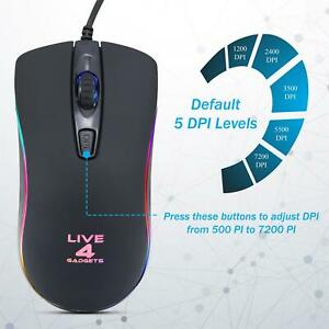 Live4Gadgets Rainbow RGB LED Gaming Mouse USB Wired 4 Button 6400 DPI Mice Gamer