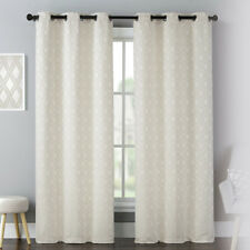 Luxury Collection Mystique Woven Grommet Curtain Panel Pair Natural