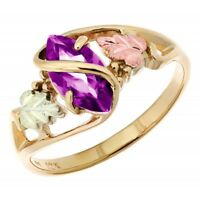 10K Black Hills Gold Ladies Ring with Amethyst Size 4 -11